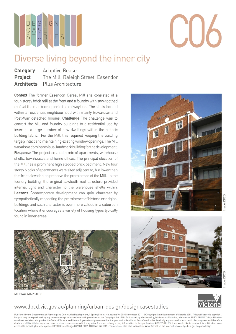 Department of Transport, Planning and Local Infrastructure, The Mill, Raleigh Street Essendon, Design Case Studies,  Diverse living beyond the inner city