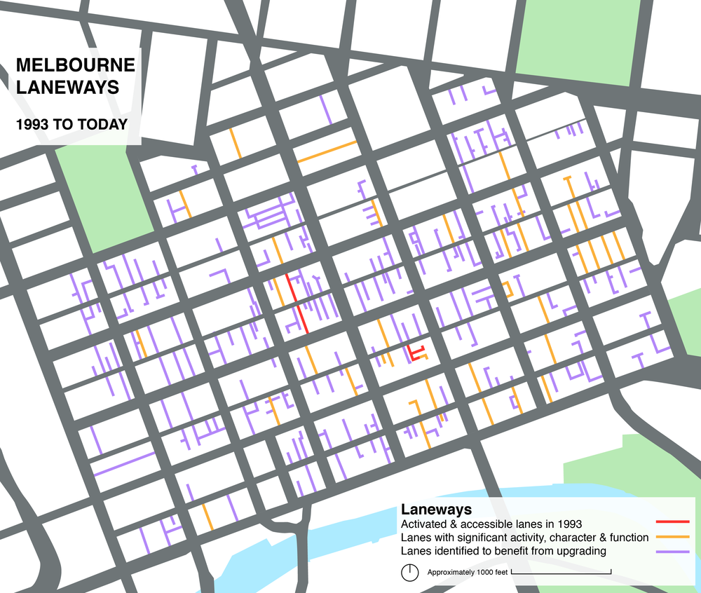 Map of Melbourne's laneways by Sarah Oberklaid, showing the increase in active and accessible laneways since 1993. Sources: City of Melbourne and Gehl Architects, Places for People, 2004 and Melbourne Planning Scheme Clause 22.20. Lanes identified to benefit from upgrading, feature less than two of the core values of: Connectivity, active frontages, elevational articulation & views.