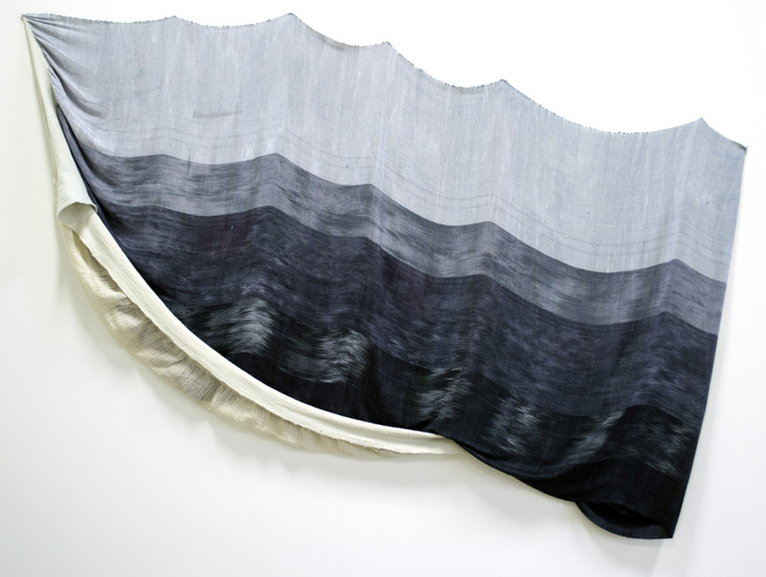 "Sea Trough -  2013 - hand woven, hand dyed, wool and tencel, wool resist -   61"" x 96"" x 3"""