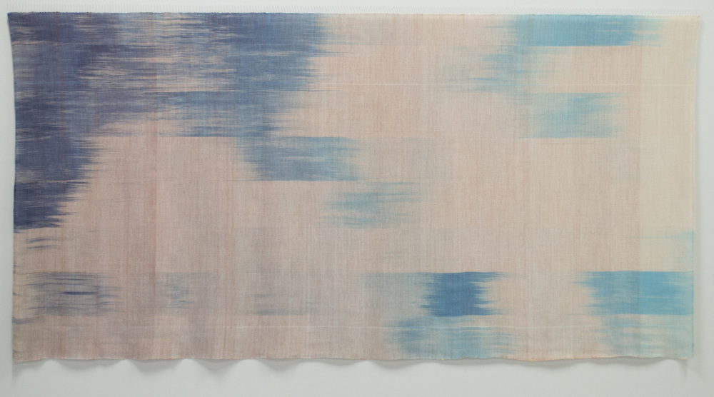 """Dusk - 2012 - hand dyed, hand woven, tencel, sewing pins -51"""" x 101"""" x 1.5"""""""