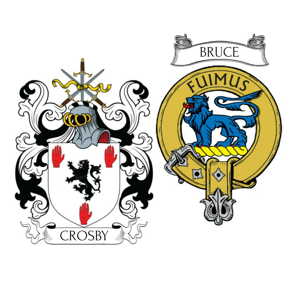 Heraldry from the Crosby clan (England) and their ancestors the Bruce clan (Scotland)