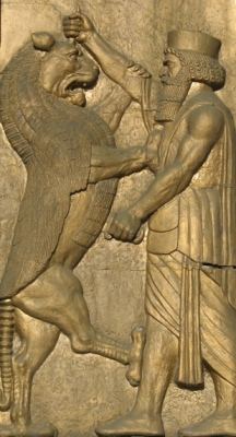 "Darius the Great stabbing a lion in the head echoes his coming to power by overthrowing a Lion-Sun ""seer-stargazer"" named Gaumata."