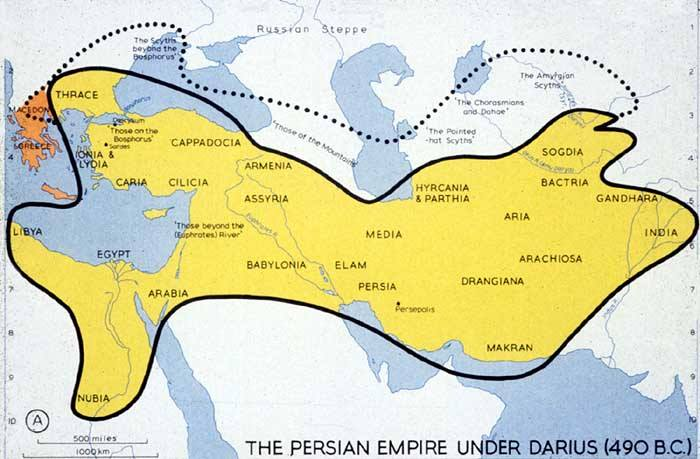The map of the Persian Empire during the lifetime of the Buddha, Siddhartha Gautama