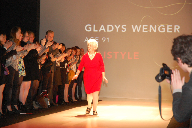 Gladys, aged 91 wearing Allistyle at the Heart Truth Fashion Show, March 2013. Way to go Gladys!