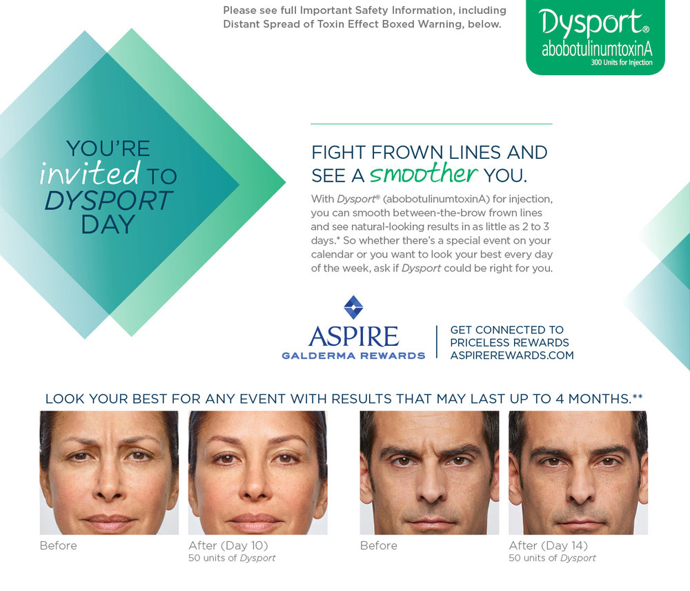 Save $75 on your next full treatment with Dysport. CLick to learn more.