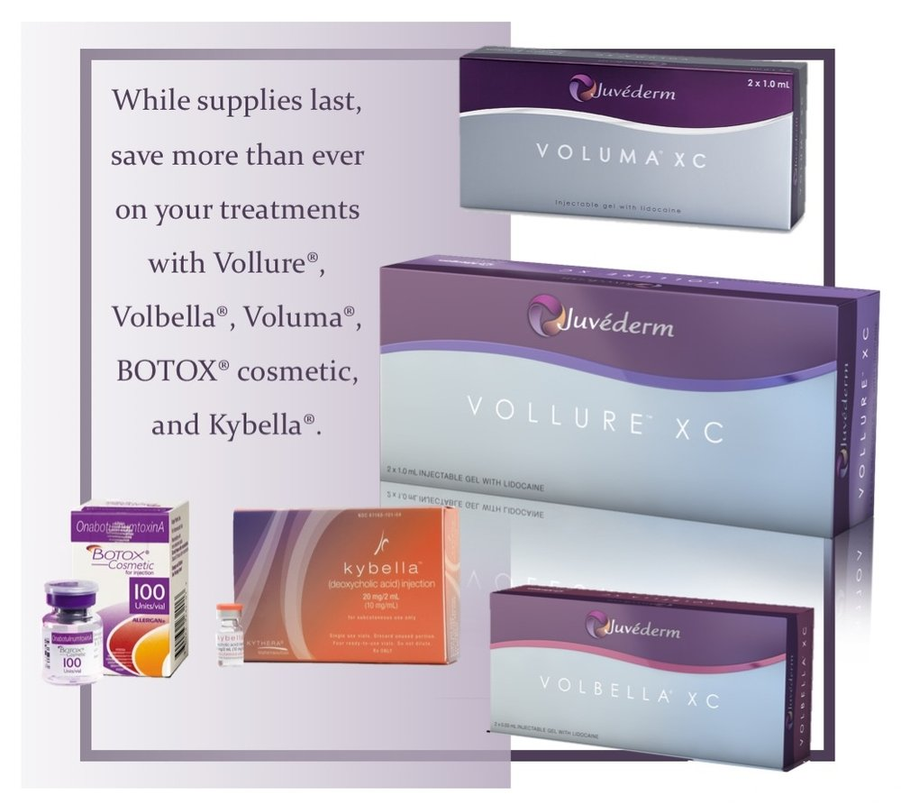 CLick to learn how you can save hundreds on vollure, volbella, voluma, kybella, and botox cosmetic.