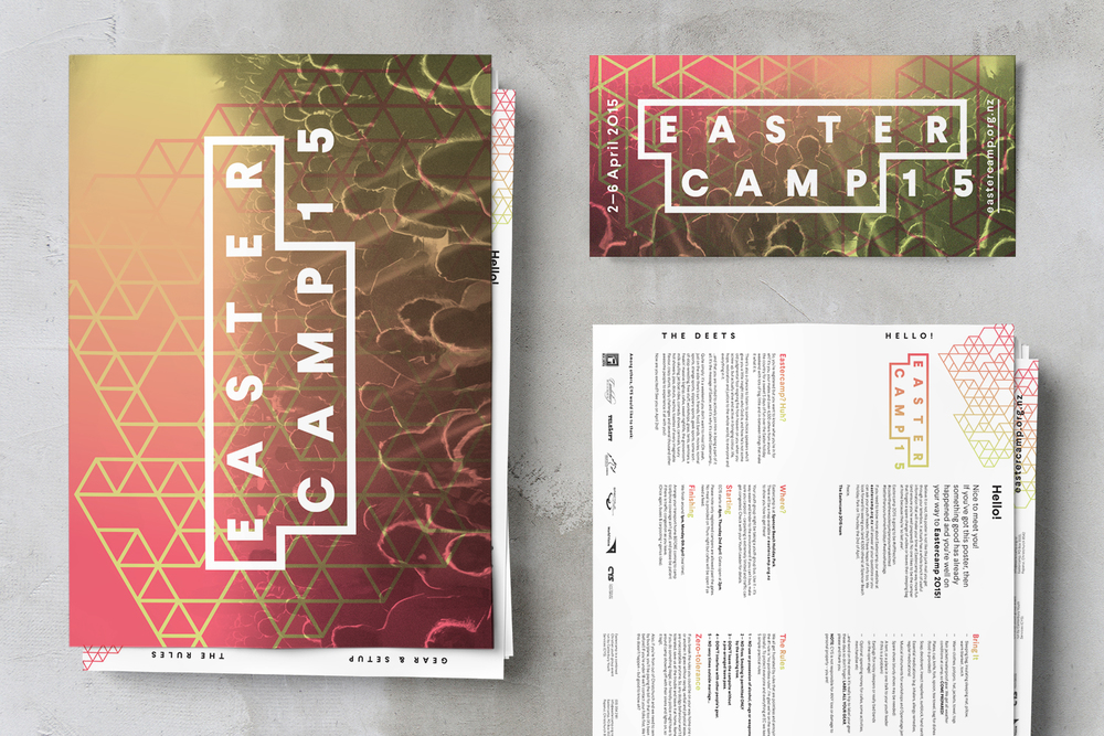 Eastercamp identity posters and flyers designed by ThompsonCo.