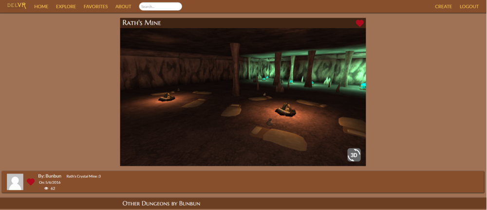 Example of a dungeon page, the website supported social media like features such as favorite dungeons, sharing dungeons and leaving comments on them.