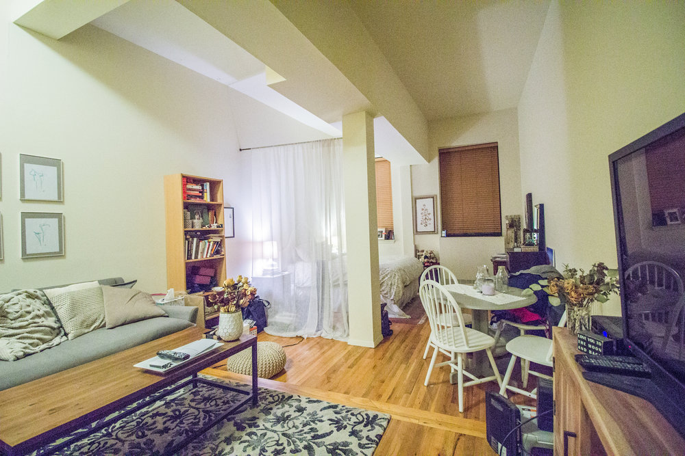 110 E 13 Street #4D - Large open LOFT boast 12' ft high beamed ceilings, lots of light oak-plank floors, tons of closet space, extra storage above kitchen, and separate kitchen with Dishwasher & pass-thru in a elevator building with laundry and live-in super.Conveniently located just South of Union Sq you are steps to most major transportation, Whole Foods, Trader Joe's, and great shops and dinning.Rent: $2,695 /monthTerms: 12 - 12 MonthsAvailable: February 1st