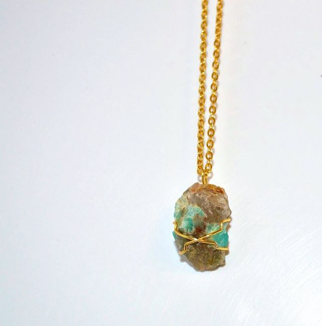 Raw turquoise necklace, just uploaded! . . . #cancer #beatcancer #cancersucks #charity #giveback #crystal #crystals #NC #turquoise #necklace #holidays #sale