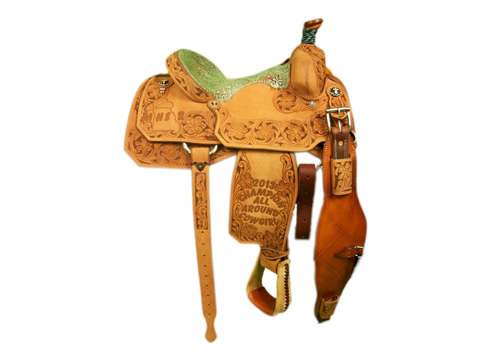 Saddle Details:  All Rough Out with Full Triple Floral Border and Brown Dyed Background. TS 200 Patterns. Braided Horn Knot, Rust Conchos. Turquoise/Chocolate Embossed Floral Seat.