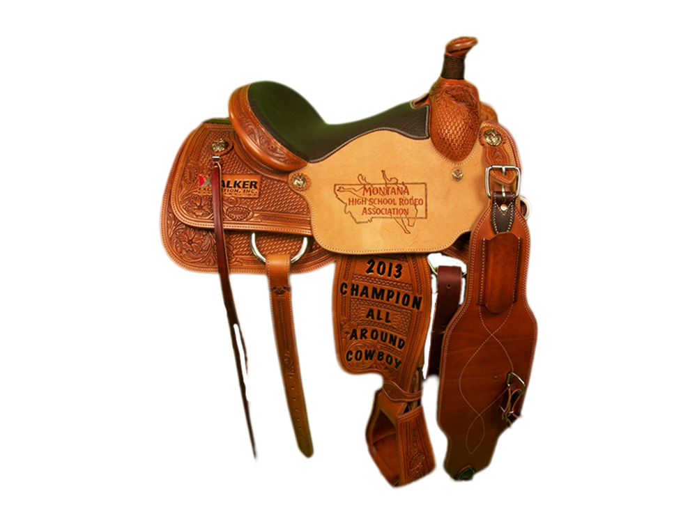 Saddle Details:  7/8 Wildflower and Basket Stamp. 7/8 Braided Border. TS 400 Patterns. Braided Horn Knot, Rust Conchos, Tooled Stirrups, Strings. Chocolate Elephant Seat.