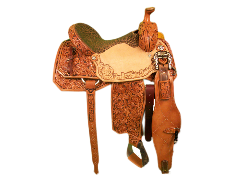 Saddle Details:  7/8 Tooled Triple Floral with Brown Dyed Background. Triple Floral Border and Dyed Background in Seats. TS 200 Pattern. Rust Conchos, Rust Flank Buckles, Rawhide Horn Edge, Hand Stitched Vintage Pete Elephant Seat.