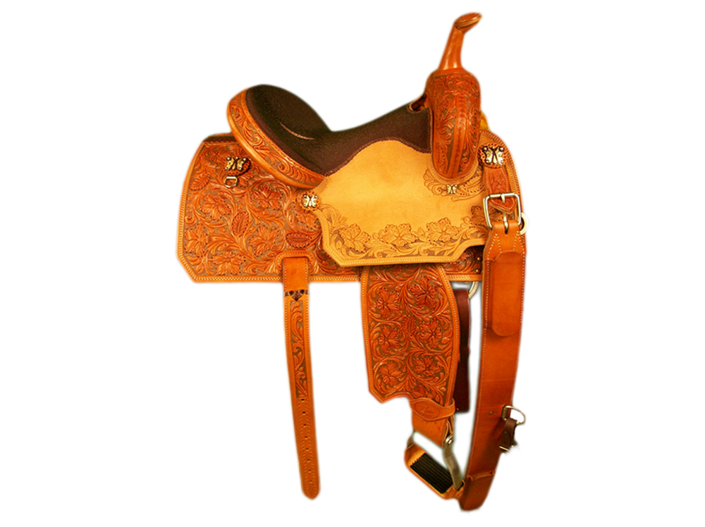 Saddle Details:  7/8 Tooled Wildflower with Brown Dyed Background and Wildflower Border with Dyed Background in Seats.Angle Cut Patterns.Stingray Seat.Rust Conchos.