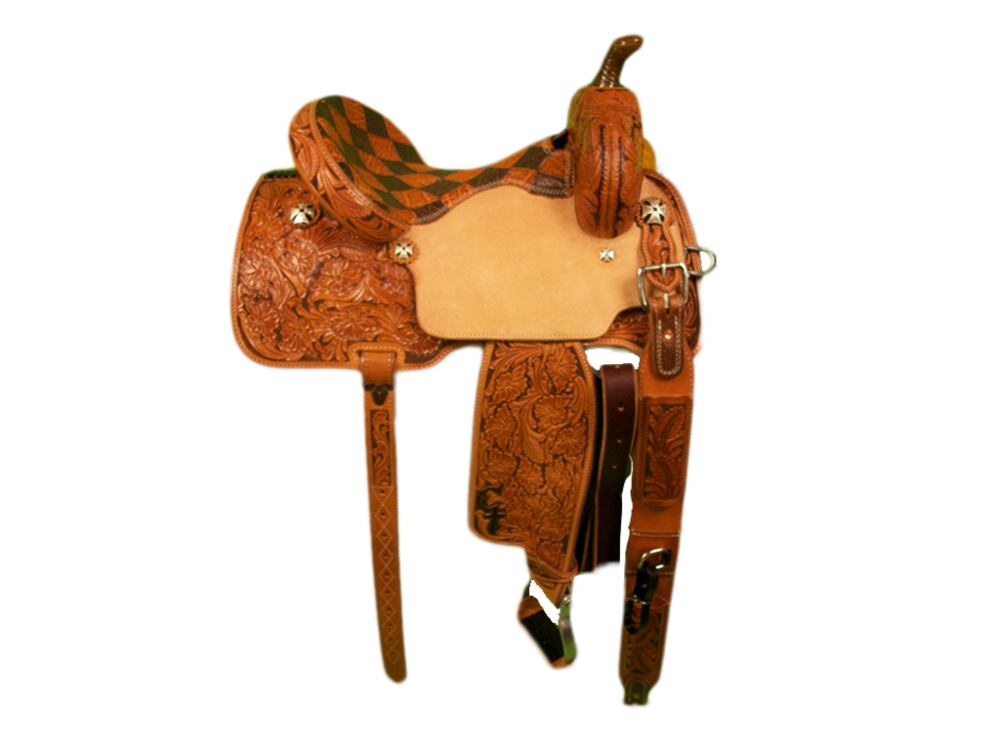 Saddle Details:  7/8 Tooled Wyoming Floral with Brown Dyed Background.Traditional Pattern with Leg Cut.Rawhide Braided Horn.Honey and Bark Elephant Patchwork Seat.Rust Conchos.