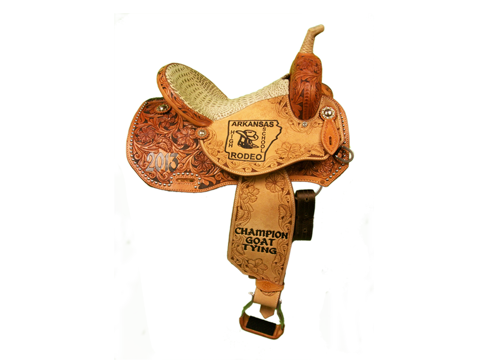 Saddle Details: Angle Cut Patterns.3/4 Triple Floral with Brown Dyed Background.Floral Border in Seats & Fenders.Amazon Gator Print Seat.Spots: Skirt.Rawhide Braided Horn.