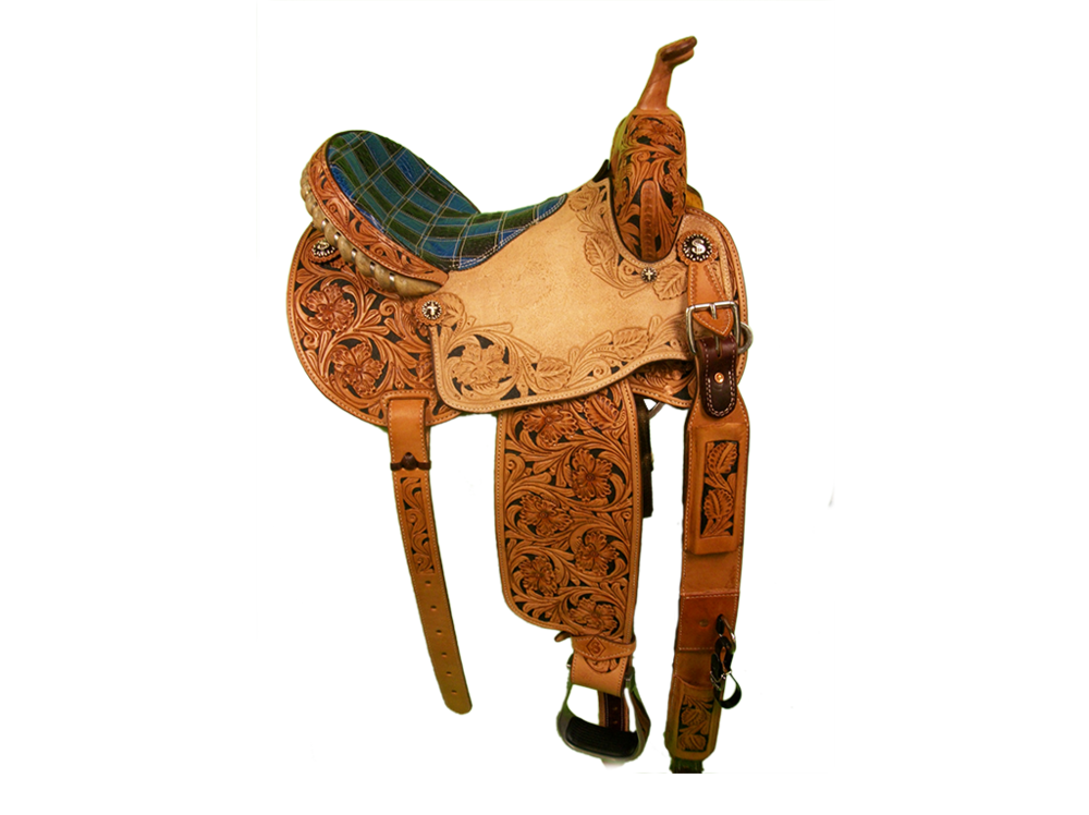 Saddle Details: Traditional Patterns with Cut Out.7/8 Wild Rose with Black Dyed Background.Wild Rose Border in Seat Jockey with Black Dyed Background.Blue & Black Gator Print Bicycle Patchwork Seat.Silver Lace Cantle.Rust Conchos.