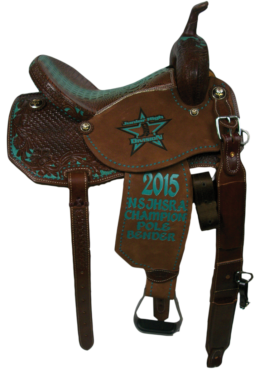 Saddle Details: Angle Skirt Patterns.Chocolate Leather.3/4 Spider with 3/4 Wyoming Floral Border with Turquoise Dyed Backround.Full Turquoise Buck Stitch Border.New Chocolate/Turquoise Gator Print Seat.