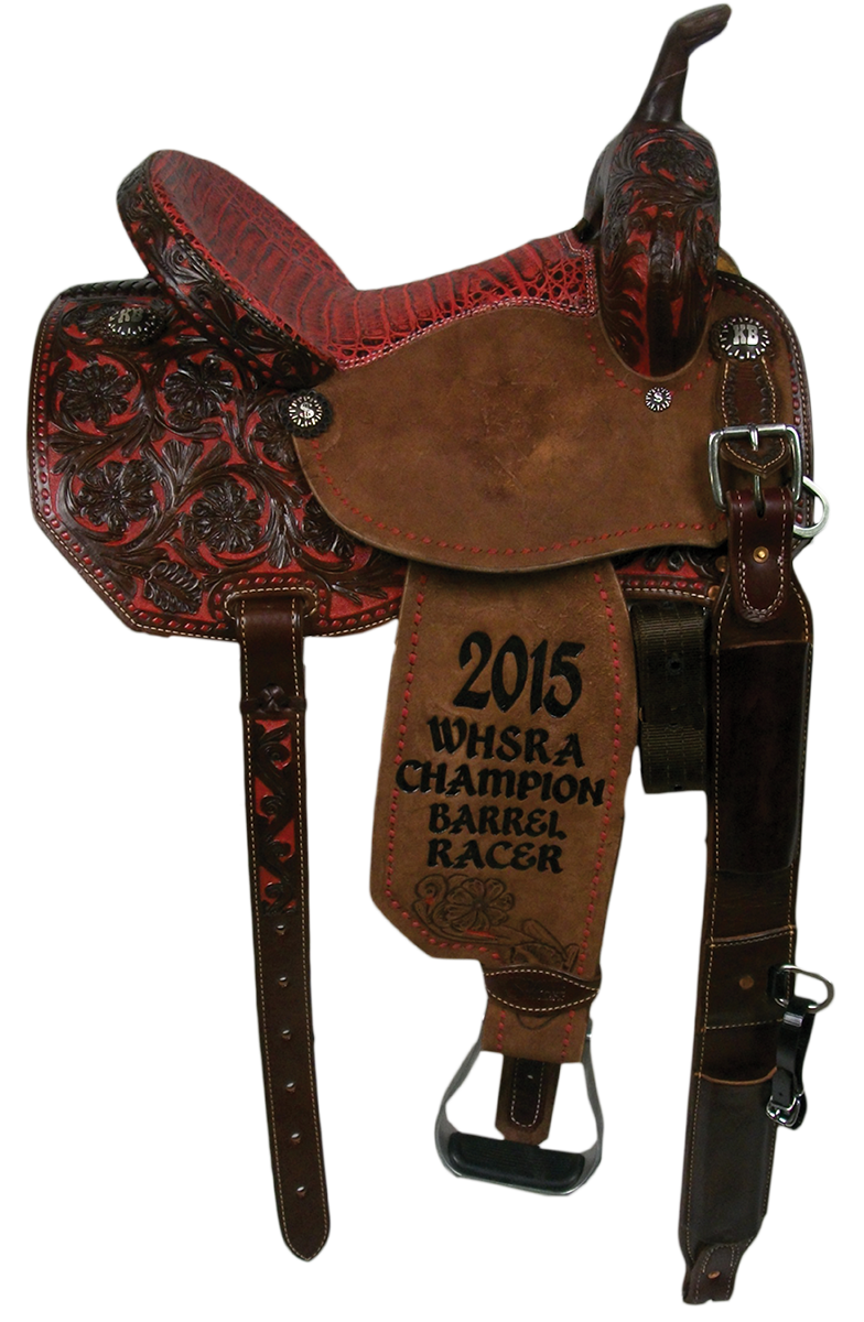 Saddle Details: Angle Skirt Patterns.Chocolate Leather, 3/4 Wyoming Floral with Red Dyed Background.Full Red Buck Stitch Border.Custom Conchos and Red/Black Caiman Seat.