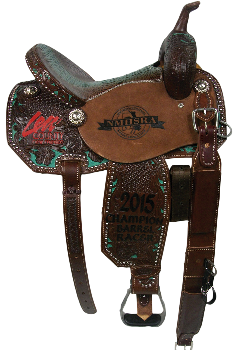 Saddle Details:  Angle Skirt Patterns.7/8 Spider with 7/8 Wyoming Floral Border with Dyed Background.Silver Spots on Binder, Skirts, and Fenders.New Turquoise/Chocolate Gator Print Seat.