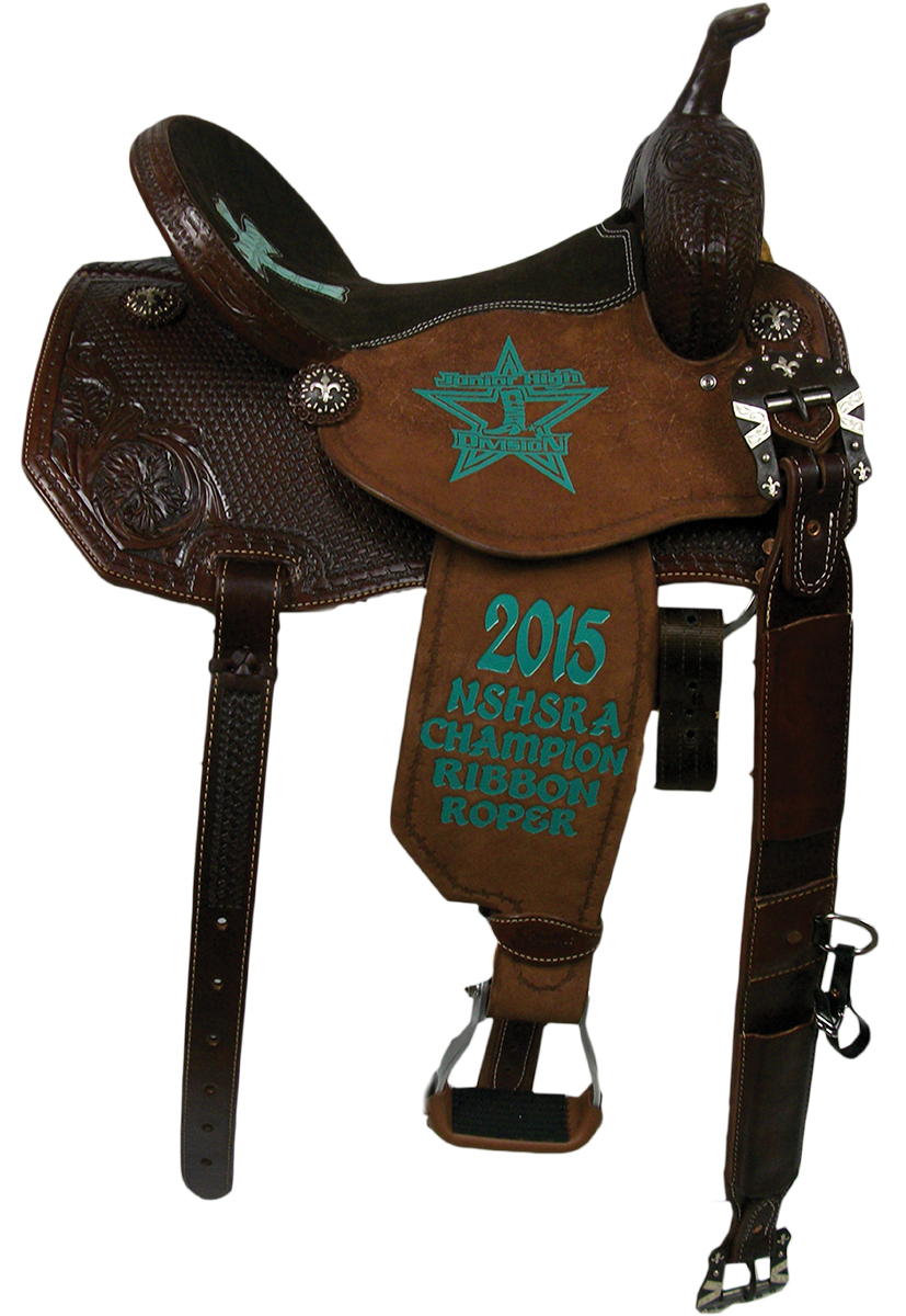 Saddle Details: Angle Skirt Patterns.Chocolate Leather.3/4 Wild Rose and Basket Stamp with Full Barbed Wire Border.Chocolate Suede Seat with Mint Chocolate Chip Gator Print Kaity Cross Inlay, Rust Conchos and Buckles.