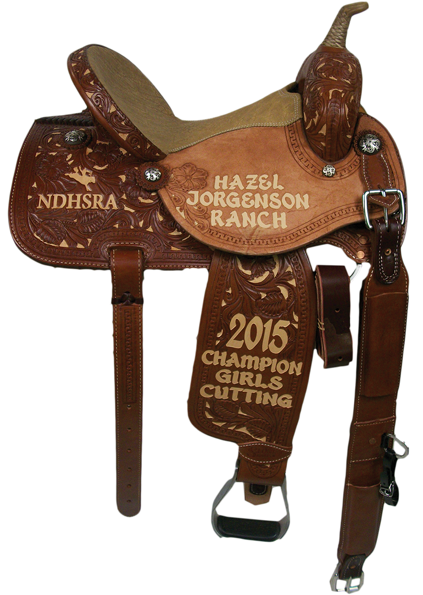 Saddle Details: Traditional Skirt Patterns.Chestnut Leather, 7/8 Floral with Tan Dyed Background and Full Serpentine Border. Rawhide Braided Horn, Elephant Print Seats and Rust Conchos.