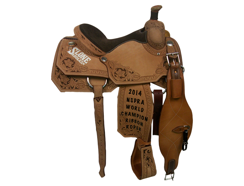 Saddle Details:  Angle Cut Patterns.   Full Deluxe San Carlos Border with Brown Dyed Background.  Braided Horn Knot.  Silver Dollar Conchos.  Brown Suede Seat.