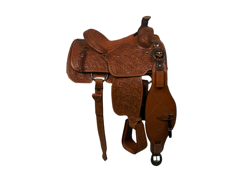 Saddle Details:   Traditional Patterns.  Full Oak - All Smooth Out.  Quilted Rust Suede Seat.  Rust Conchos.  Rust Flank Buckles.  Hoof Pick Pocket on Offside Billet.