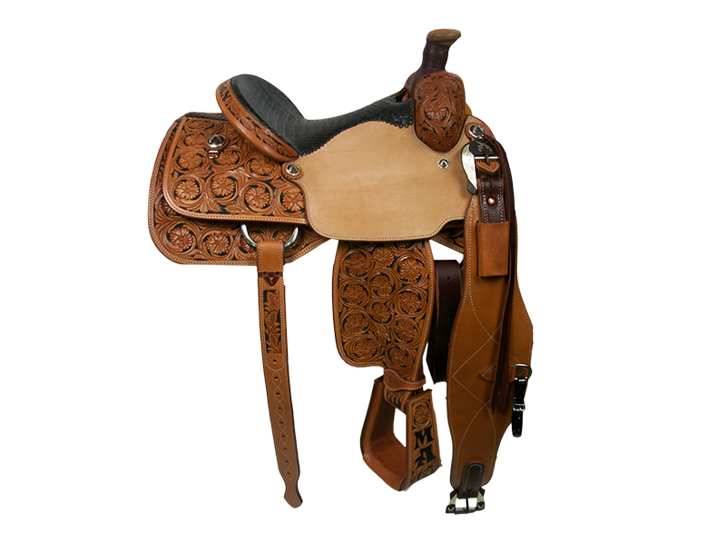 Saddle Details:   Traditional Patterns.  7/8 RB Floral with Black Dyed Background.  Rawhide Horn Edge.  Rust Conchos and Flank Buckles.  Tooled Stirrups to Match.