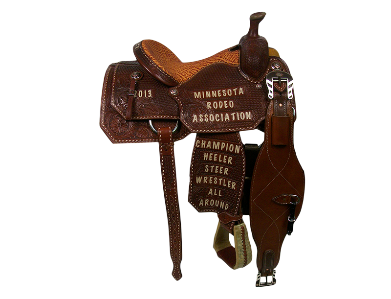 Saddle Details:   Angle Cut Patterns.  Chocolate Leather. Full Starfish with Floral Panel.  Honey Tipped Elephant Seat.  Rawhide Horn Edge.  Rust Conchos and Flank Buckles.  Rawhide Covered Stirrups.