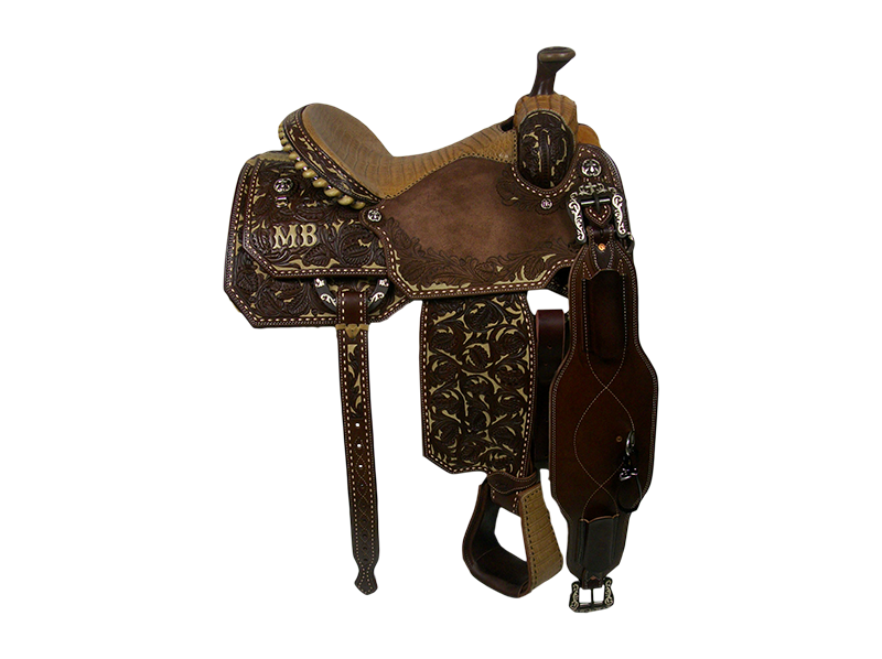 Saddle Details:   Traditional Patterns.  Chocolate Leather.  Full Waffle Tooling. Tan Buckstitch.   Silver Dollar Conchos.  Bicycle Seat.  Strings.