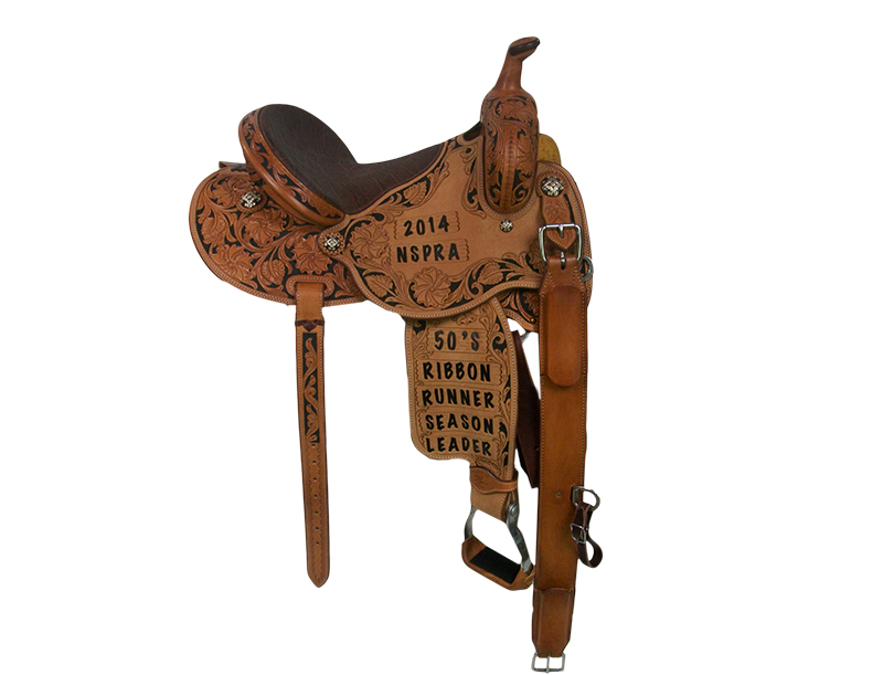 Saddle Details: Butterfly Patterns. 3/4 Floral with Black Dyed Background. Floral Border with Dyed Background in Seats and Fenders. Bicycle Seat. Rust Conchos.