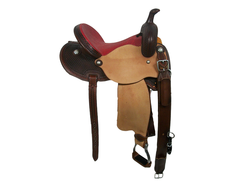 Saddle Details: Chocolate Leather Upgrade. Butterfly Patterns.Natural Rough Out Seats and Fenders. Red Buck Stitch Border. Rust Conchos.