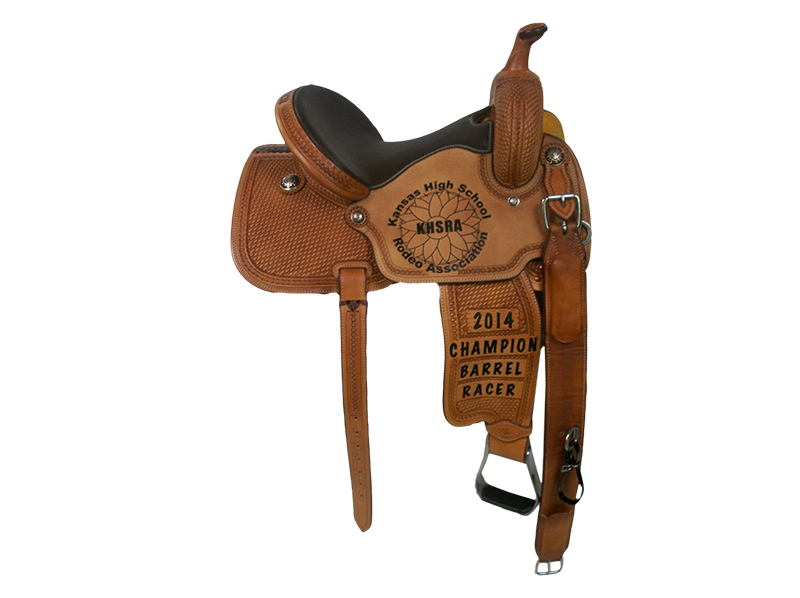 Saddle Details: Traditional Patterns. 7/8 Geometric. Full Trophy Border. Rough Out Seats.