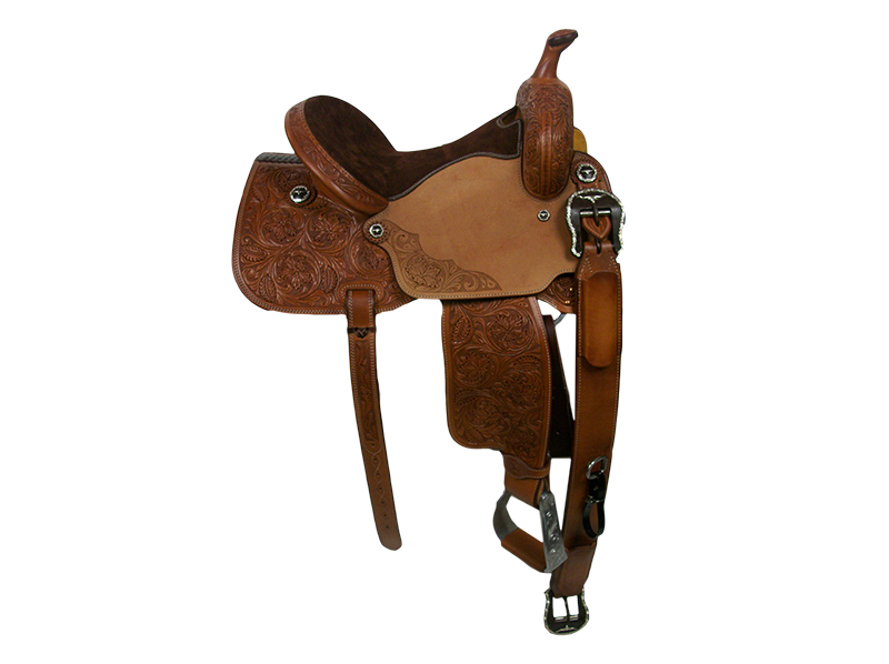 Saddle Details: Traditional Patterns. 7/8 Floral. Floral Panel in Rough Out Seats. Brown Suede Seat. Rust Conchos. Rust Flank Buckles.