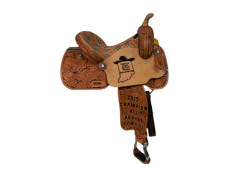 Saddle Details: Traditional Patterns. 7/8 Floral with Dyed Background. Rough Out Seats. Patchwork Seat. Rust Conchos.