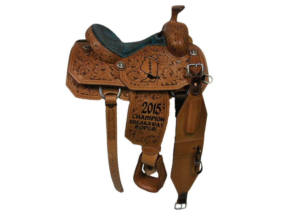 Full Floral with Dyed Background.  Full Barbed Wire Border.  Angle Cut.  Caiman Seat.  Rust Conchos.  Billets.  Tooled Stirrups Upgrade.