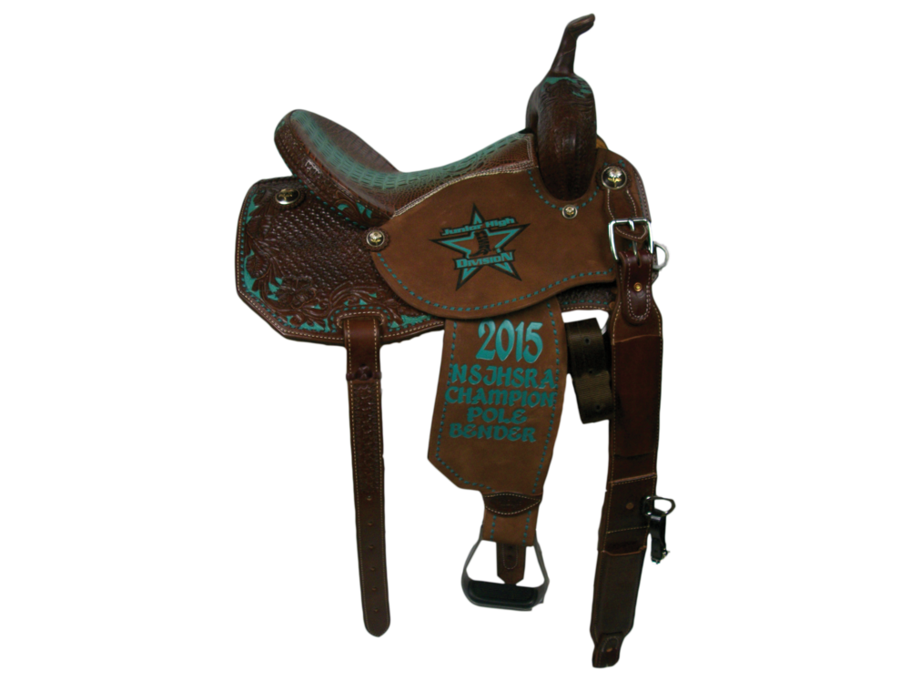 Full Chocolate Leather Upgrade.  3/4  Combo with Dyed Background.  Angle Cut. Rough Out Seats and Fenders.  Full Buck Stitch Border.  Exotic Print Seat.  Rust Conchos.  Billets.