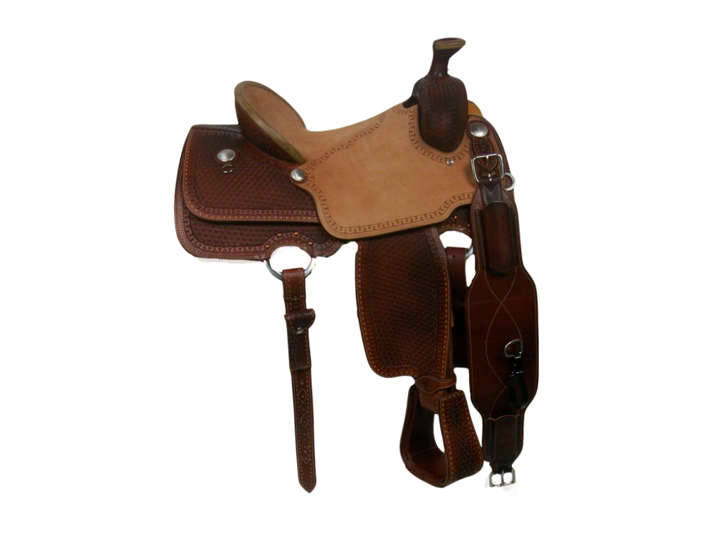 Saddle Details:   7/8 Snowflake and Full San Carlos Border and 7/8 Buck Stitch Border. Chestnut Leather Upgrade, Double Skirt Riggins, 100% Wool, One Piece Hard Seat, Turkey Tail Binder, Rawhide Horn Edge, Hoof Pick Pocket, Tooled Stirrups, Latigo Off & Tie Straps and Billets in Back.