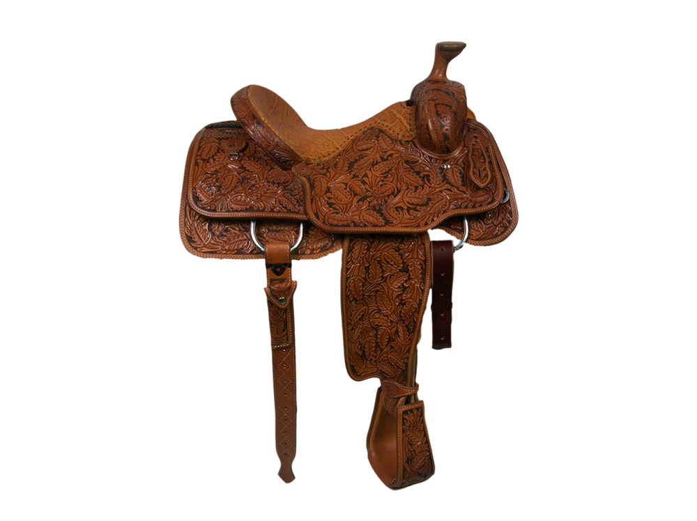 Saddle Details:   Traditional Patterns with Leg Cut, Full Spanish Oak with Brown Dyed Background, 100% Wool, Rawhide Horn Edge, Tooled Overshoe Stirrups, Rust Conchos, and Hand Stitched Honey Elephant  Padded Seat.