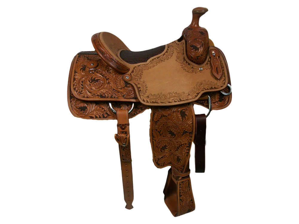 Saddle Details:  Traditional Patterns with Leg Cut, 7/8 Triple Oak with Border in Seats and Dish of Cantle with Brown Dyed Background, Tooled Stirrups, Rawhide Horn Edge, Hoof Pick Pocket, Rust Conchos,  Bark Elephant inlaid Bicyle Seat.