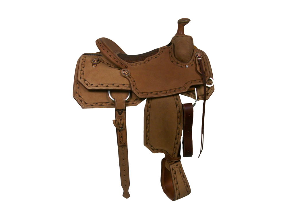 Saddle Details:    Angle Cut Patterns.  Full Ribbon Border.  Brown Dyed Background.  All Rough Out.  Bark Elephant Pillow Seat.  Rawhide Horn Edge.  Latigo Upgrade T&O Straps with Billet.  Hoof Pick Pocket.  100% Wool Lining. Copper Fancy Flower Rust Conchos. Tooled Overshoe Stirrups Upgrade.