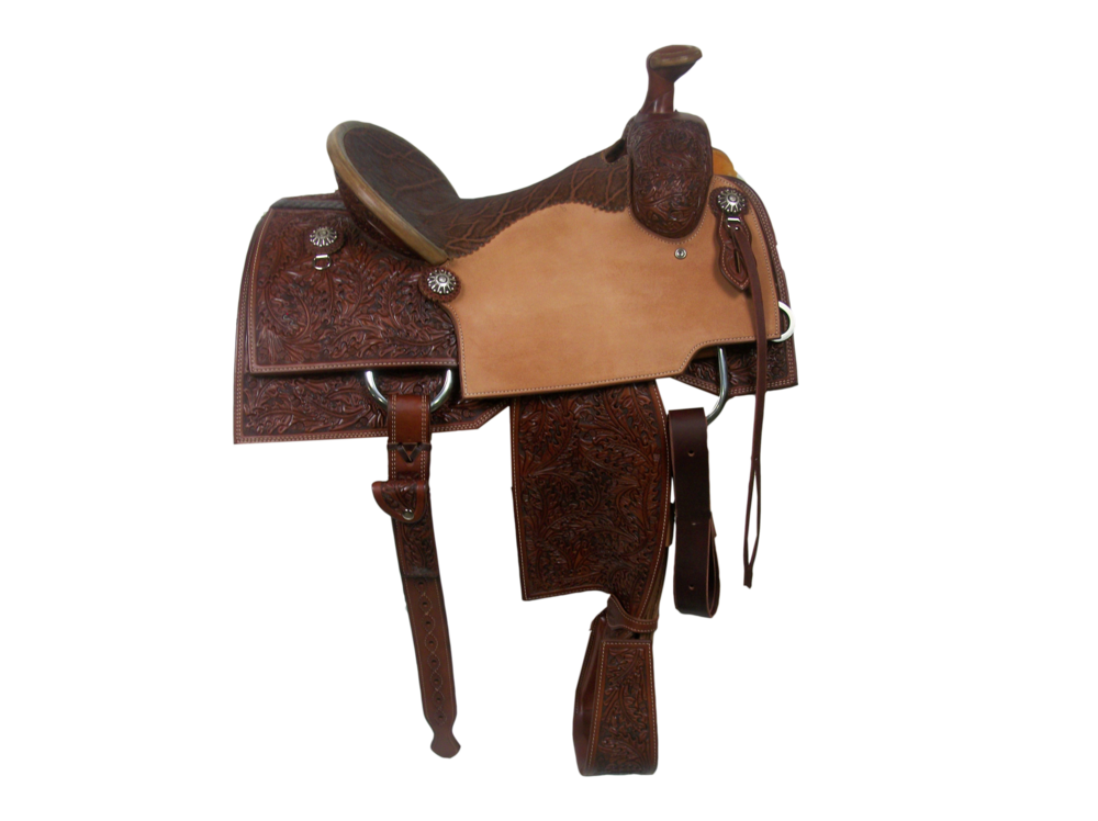 Saddle Details:   Square Cut Patterns.  7/8 Small DJ Oak.  Rough Out Seats.  Chestnut Leather Upgrade.  Hand Stitched Seat.  Bark Elephant Seat.  Rawhide Turkey Tail Binder.  Latigo T&O Straps with Billets.  Rawhide Horn Edge.  Custom Hoof Pick Pocket on Billet.  Overshoe Tooled Stirrups.  Rust Conchos.
