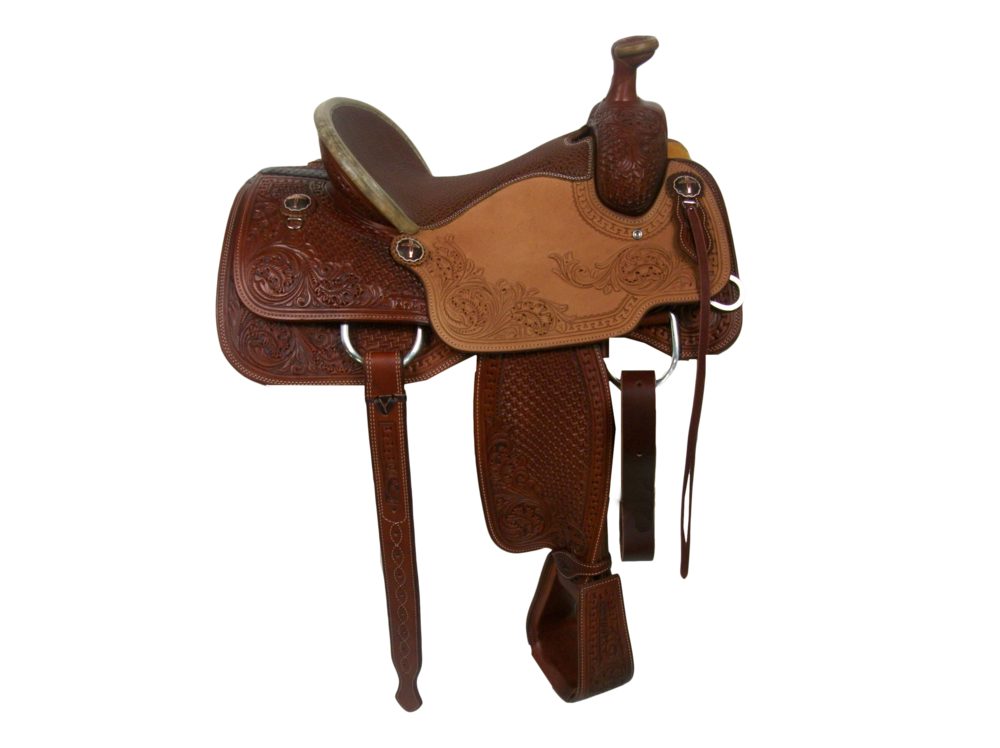 "Saddle Details:   Traditional Patterns with Cut Out.  Chestnut Leather Upgrade. 100% Wool Lining.  Rough Out Seats.  Full Deluxe San Carlos & Oak with Dyed Background.  7/8 Spider.  Rawhide Turkey Tail Binder.  Peanut Brittle Bison Seat.  6"" Flank with 2 Pockets.  Billets in Back, Latigo in Front. Hoof Pick Pocket on Right Billet.  3"" Overshoe Stirrups - Smooth Out, Leather Covered, Tooled to Match with Dyed Background.  Rust Conchos."