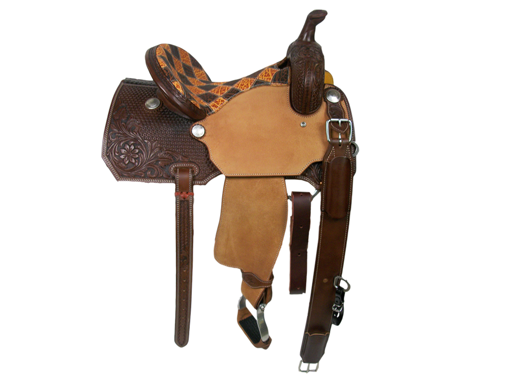 Saddle Details:  Angle Cut Skirt Patterns. 3/4 Daisy Panel and Starfish. Chocolate Leather Upgrade. Honey and Bark Elephant Patchwork Seat. Hoof Pick Pocket on Left Billet. Rough Out Seats and Fenders. Rust Conchos.