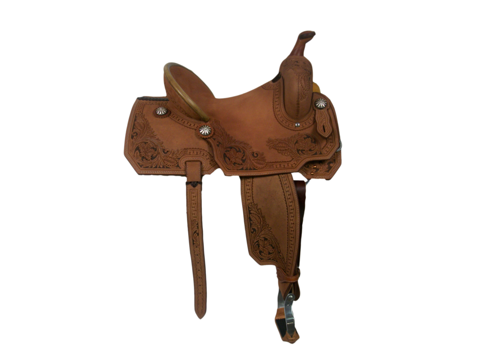 """Saddle Details:  Angle Cut Patterns. All Rough Out with Full Deluxe San Carlos Border with Dark Brown Dyed Background. One Piece Hard Seat. Rawhide Turkey Tail Binder. Custom Hoof Pick Pocket on Left Billet. 3"""" Flank & Billets; Latigo. Aluminum Offset Stirrups. Rust Conchos."""