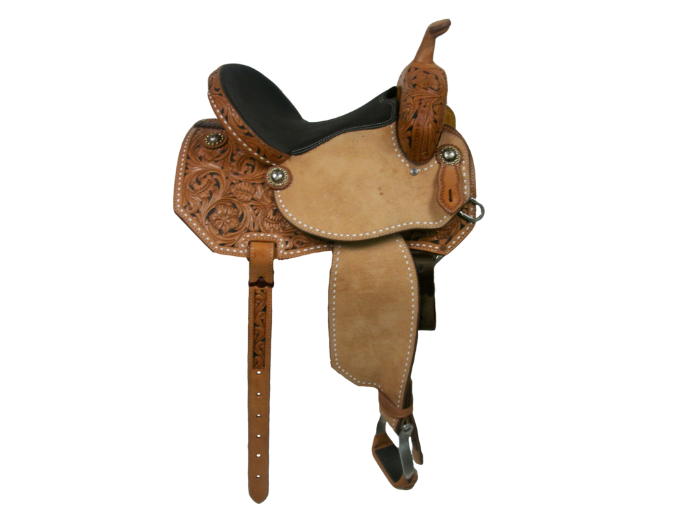 Saddle Details:  Angle Cut Patterns. 3/4 Wyoming Oak with Black Dyed Background. Rough Out Seats and Fenders. White Buck Stitch Border. Nylon Tie Straps.Black Bison Seat.  Aluminum Barrel Offset Stirrups.