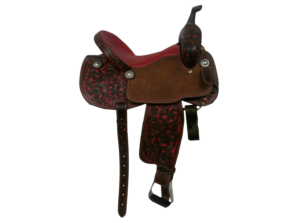 Saddle Details:  Traditional Patterns with Cut Out. Full Chocolate Leather Upgrade. 7/8 Triple Floral with Red Dyed Background. Chocolate Rough Out Seats. Red Elephant Print Padded Seat. Hoof Pick Pocket on Left Side. Red Buck Stitch Border. Silver Berry Edge Conchos.