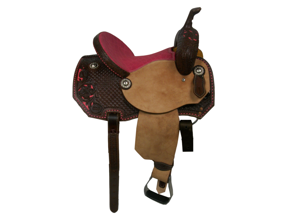 Saddle Details:  Angle Cut Patterns. Rough Out Seats and Junior Fenders. Chocolate Leather Upgrade. 3/4 Daisy and Spider with Pink Dyed Background. Pink Buck Stitch Border. Pink Elephant Print Padded Seat.  Silver Berry Edge Conchos.