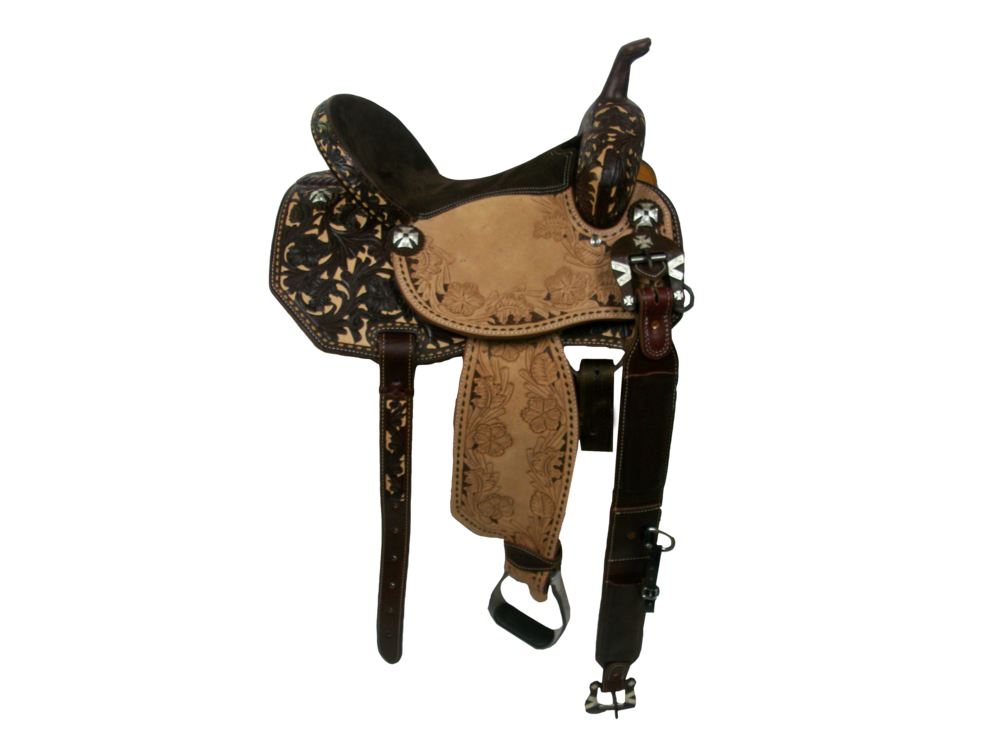 Saddle Details:  Angle Cut. 3/4 Chocolate Leather Upgrade. 3/4 Wyoming Oak with Tan Dyed Background. Wyoming Oak Border in Seats and Fenders with Chocolate Dyed Background. Full Buck Stitch Border. Suede Seat. Hoof Pick Pocket. Rust Conchos and Rust Flank Buckles.
